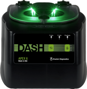 DASH APEX 6 Centrifuge Front View of Green and Black Product, Drucker Diagnostics, Made in the USA