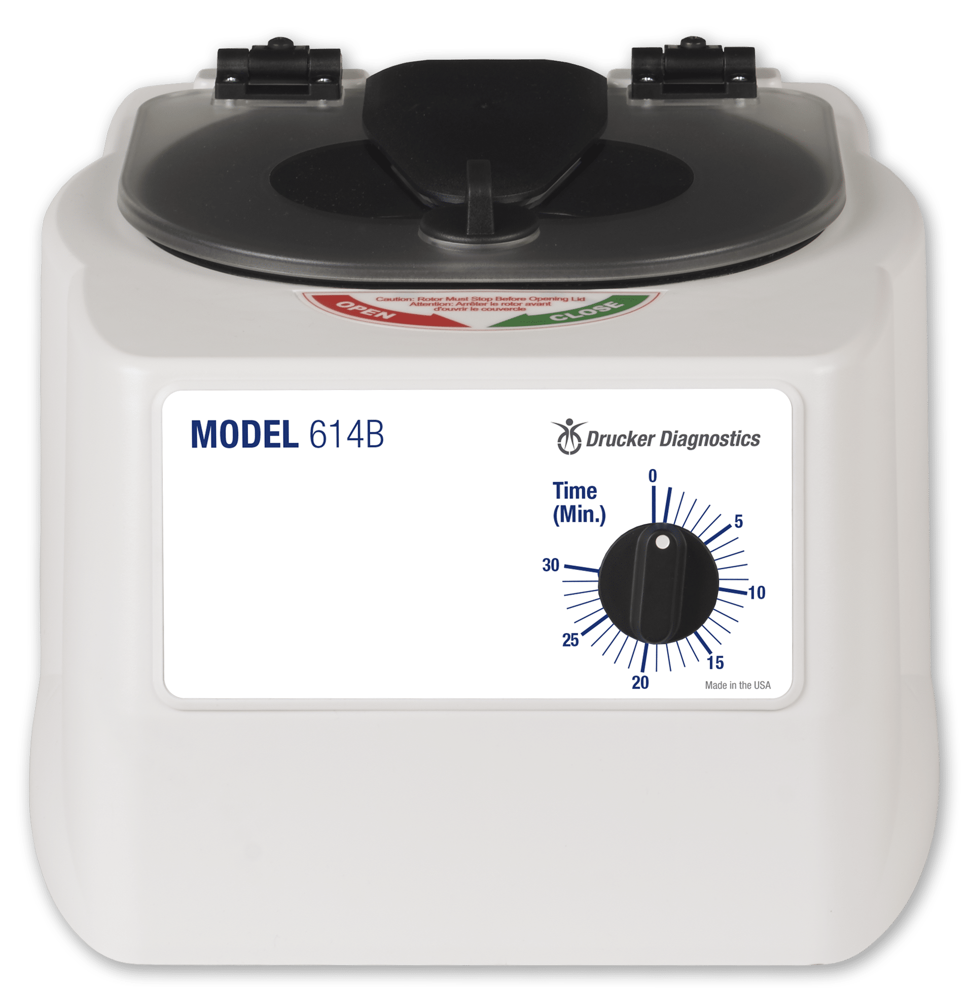 Model 614B Centrifuge Front View of White Product, Drucker Diagnostics, Made in the USA