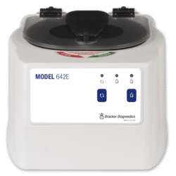 Model 642E Centrifuge Front View of White Product, Drucker Diagnostics, Made in the USA