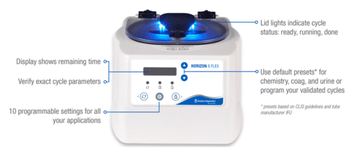 Horizon 6 Flex Stats White Product Details, Centrifuge Drucker Diagnostics